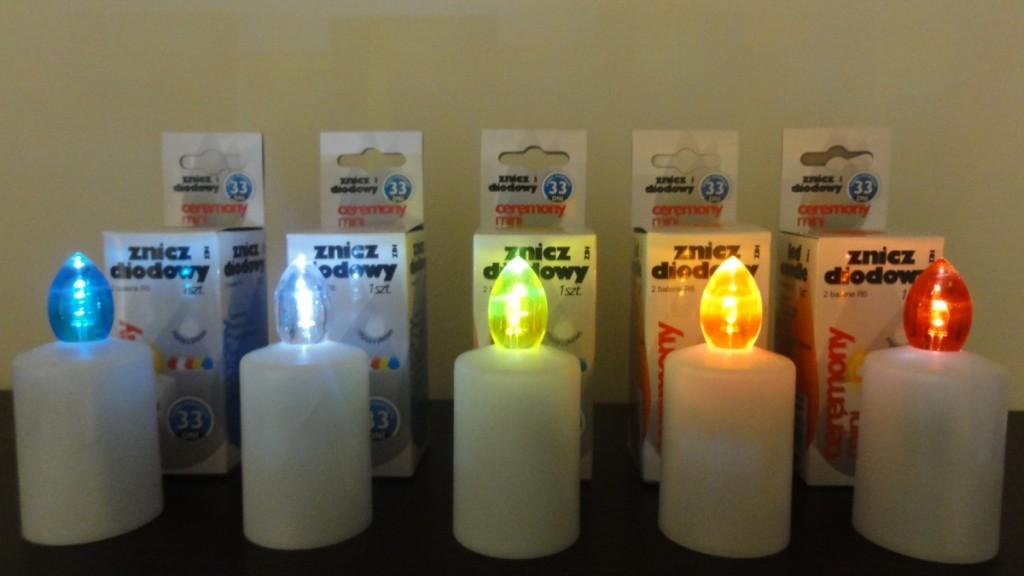 Znicze z diodą LED w pięciu kolorach